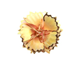 Gold Tone Enamel Flower Brooch / Peach and Cream Enamel Jewelry / b4