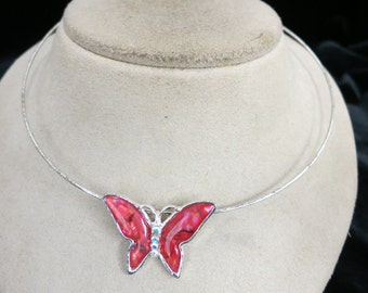 Vintage Enameled Butterfly Choker Bangle Necklace