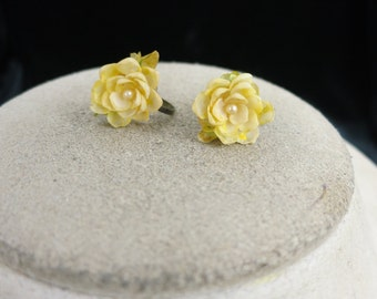 Vintage Plastic & Faux Pearl Yellow Floral Earrings