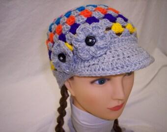Womans crochet newsboy hat