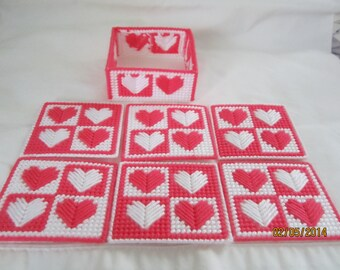 Heart design coaster set
