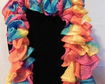 Multi-colored Varigated Ruffle Knit Scarf in Teal, Pink, Orange, and Yellow
