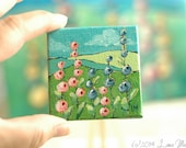 Valley of Flowers - original art - miniature painting - hollyhocks, mountains - wooden easel