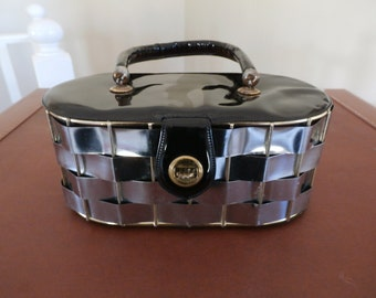 Vintage, Black Patent Leather, Metal, Basket Weave Purse
