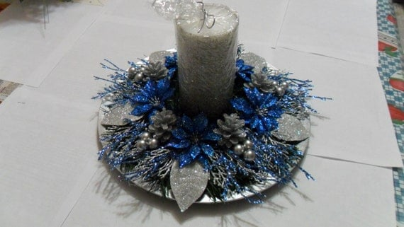 Christmas Centerpiece In Blue Silver amp By ChristmasCraftsShop