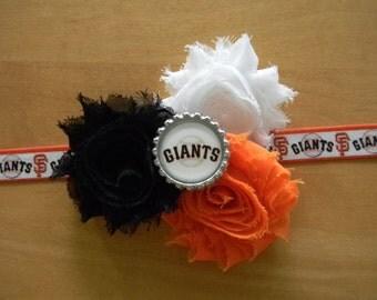 SF Giants inspired shabby flower baby/toddler/adult headband