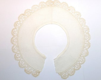 Collar,  Ecru Linen with Crochet/Crocheted Edge, removed from blouse, mid century