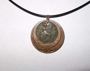 "Black Waxed Cord British Coppers 1918 Penny, Half Penny & Farthing Necklace17"" 43cm With Extension Chain"
