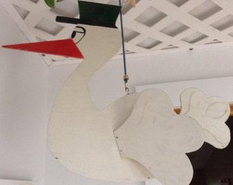 Vintage Handmade Custom-Cut Stork Mobile