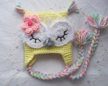 Newborn (Infant),3-6 Months,6-12 Months,1-2 Year Old Baby Owl Hat ( Made to Order), Infant Owl Hat, Yellow Owl Hat, Baby Gift, Handmade Gift