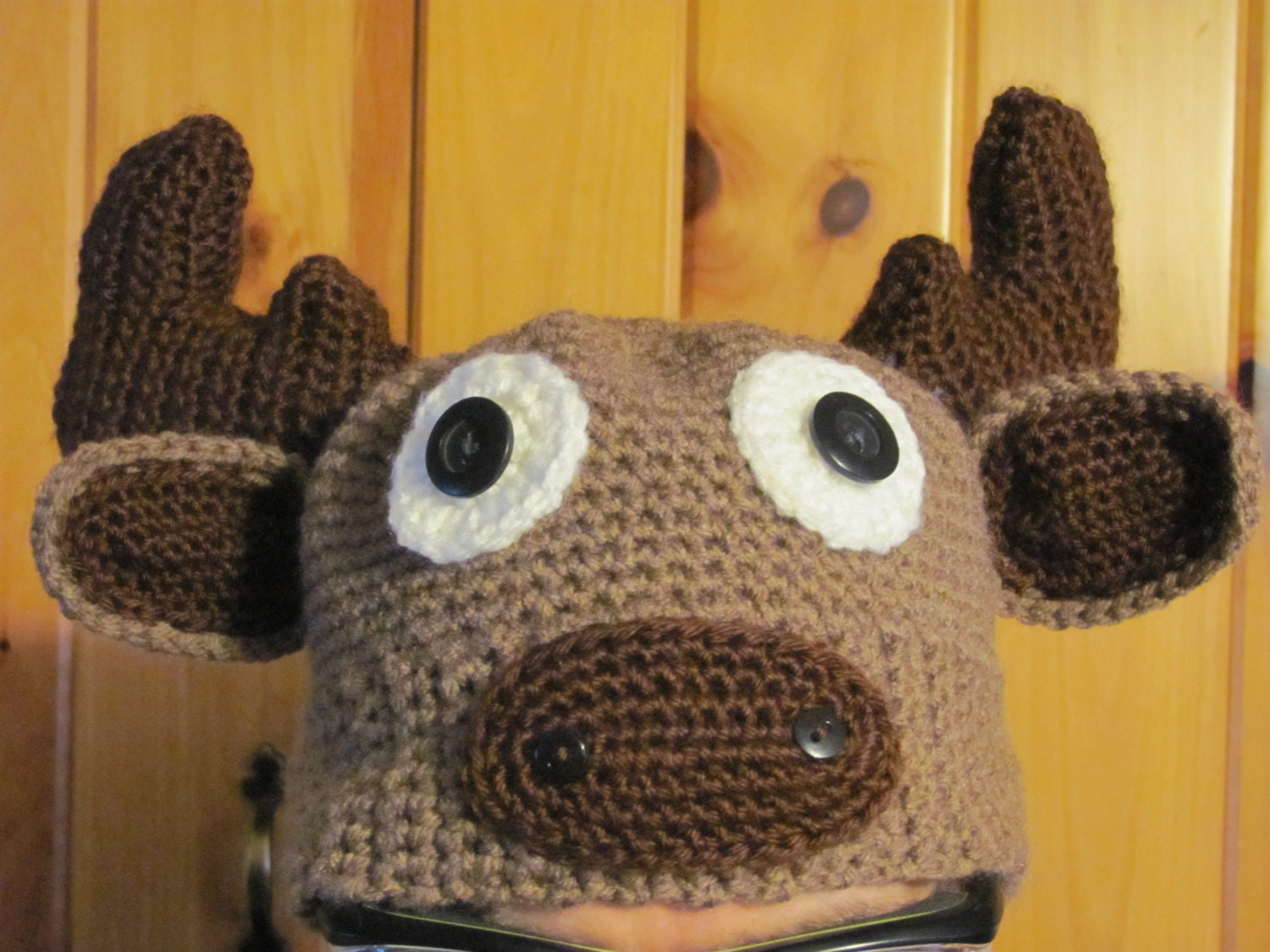 Crochet Pattern Moose Hat : Adult Crochet Moose Character Hat Funny Hat by StonehouseGals