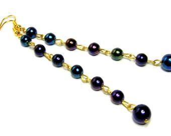 1950s Long Dark Blue Earrings -  Shoulder Dusters - Vintage Earrings