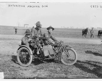 1908 WWI Motorcycle Mounted Machine Gun and Soldiers: Photo Print