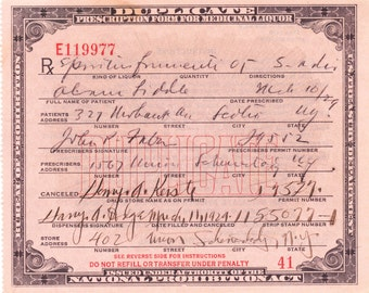 Prescription for Medicinal Liquor/Alcohol Prohibition Era- Photo Print