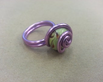Green and Lavender Ring