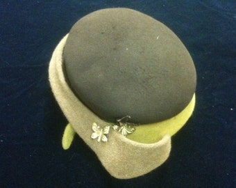 Vintage Brown Taupe and Mustard Women's Felt Hat
