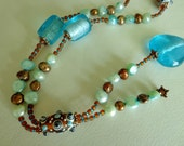 Icy Cool Aqua and Root Beer Glass Bead and Pearl Necklace - BlueRidgeBijoux