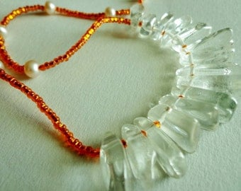 Icy Clear Crystal Quartz Stone Bead Necklace, Fiery Orange Glass Seed Beads, Beaded Necklace
