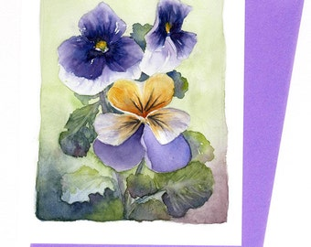 Pansies  Note Card Original Watercolor Spring Floral