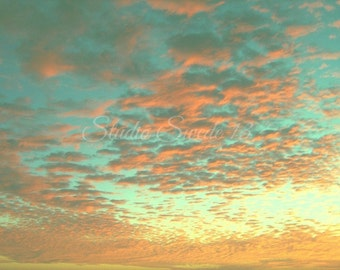 "Sunset Print, Sunset Art, Nature Photography, Aqua Coral Sky, Cloud Art, Caribbean Beach Print, Bahamas Art, Landscape Photo- ""Aqua Heaven"""