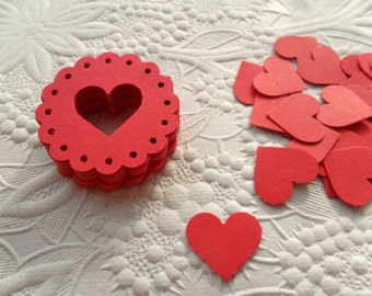 50 Heart Seal Die Cuts-50 Mini Heart Die Cuts-Scrapbooking-Gift Wrapping-Embellishments-Wedding-Party-Cards-Die cuts-Punches