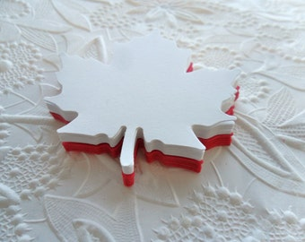 25 Large Red and White Maple Leaves-Die Cuts-Gift Tags-Canada Day Gift Tags-Die Cuts
