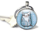 Cat Keychain - Glass Keychain Cat - Glass Cat Keychain