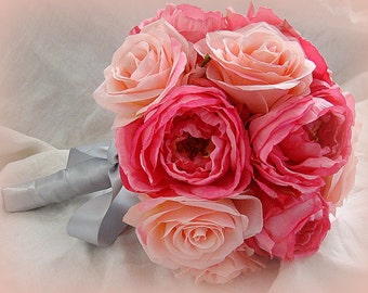 Wedding Bouquet, Pink Wedding Bouquet, Pink Rose Bouquet
