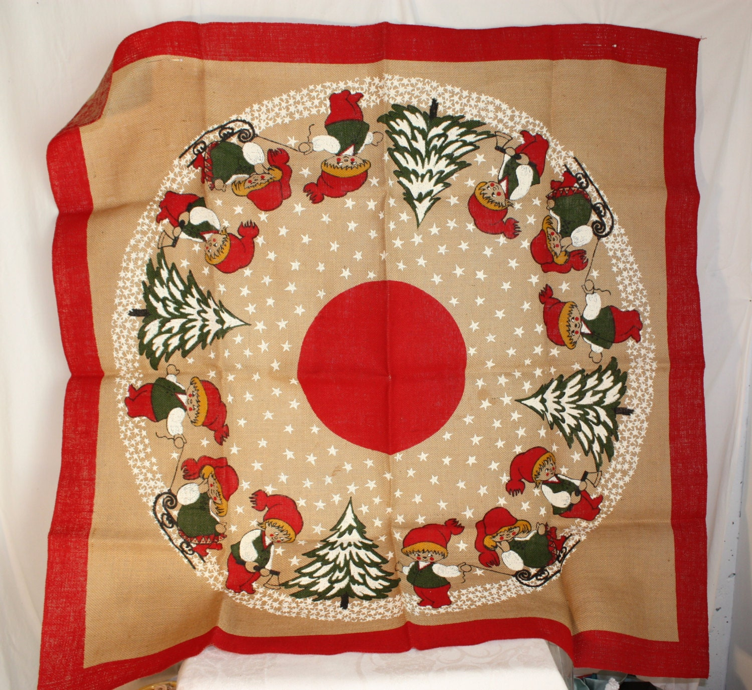 39 Inch Square Printed Tree Skirt Or Table Cover On Burlap