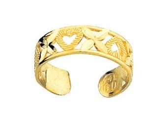 14K Yellow Gold Heart Toe Ring, Heart Toe Ring, Heart Jewelry, Love Jewelry, X Toe Ring, X Jewelry, Gold Toe Ring, Gold Jewelry