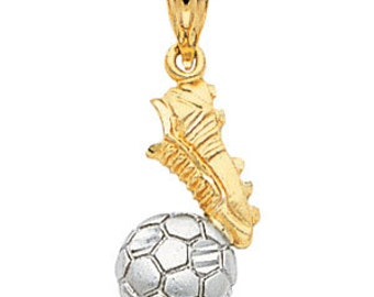 14K Two-Tone Soccer Pendant, Soccer Pendant, Soccer Jewelry, Soccer Cleat, Soccer Ball, Sports Jewelry, Futbol, Futbol Jewelry, Soccer