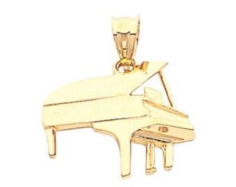 14K Yellow Gold Grand Piano Pendant, Piano Pendant, Piano Jewelry, Music Jewelry, Acoustic Jewelry, Grand Piano, Gold Pendant