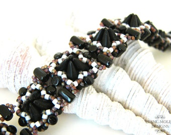 Iona, bead weave pattern for bracelet with babyspikes, rulla and seed beads, glass pearls or round beads