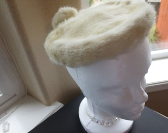 Vintage Designer 1960s fur pillbox hat. Retro.