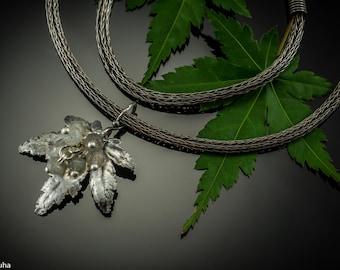 Labradorite Japanese maple silver leaf pendant