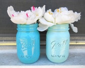Set of two Blue and Green Ball Mason Jars : Caribbean Turquoise and Light Blue