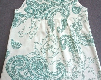 Organic Baby Clothing: Teal Paisley Dress