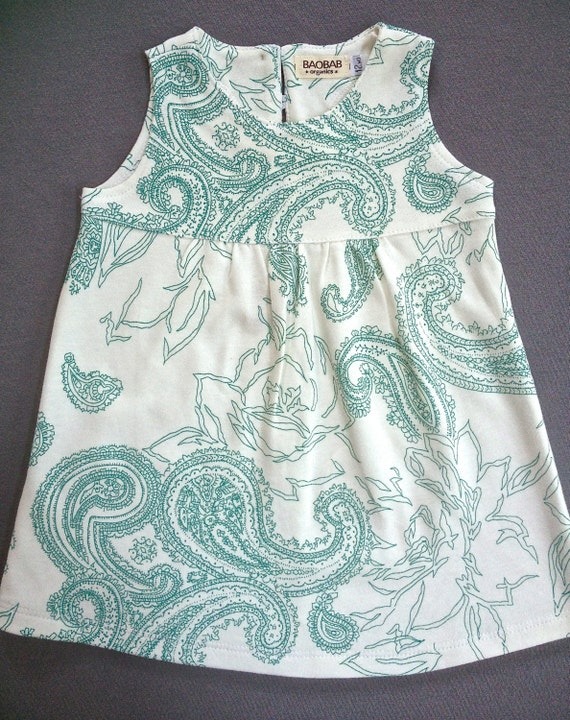 Items Similar To Organic Baby Clothing Teal Paisley Dress