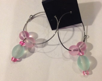 Light Blue and Pink Hoop Earrings