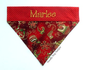 "Personalized  Dog Bandana/ Pet Bandana/ Holiday Dog Bandana/ Christmas Dog Bandana/ ""Christmas Traditions"""