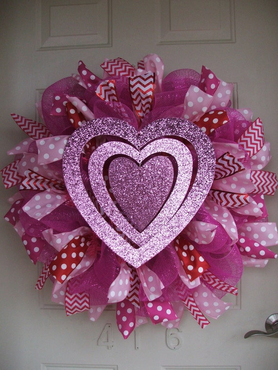Valentine's Day - Valentine Heart Deco Mesh Wreath with Polka dot and Chevron ribbon