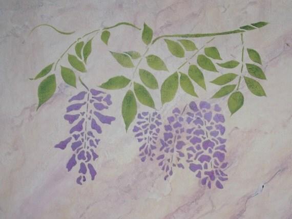 Fleur de glycine stencil decorative r utilisables art for Glicine disegno