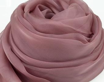 Rubber Red Silk Chiffon Scarf - Rosy Brown Silk Chiffon Scarf - Large Red Scarf - AS214