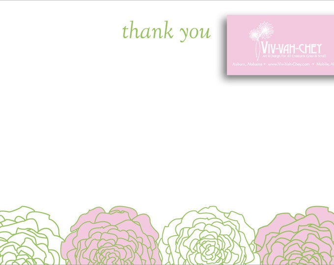 Pink & White Camellia | Thank You Stationery
