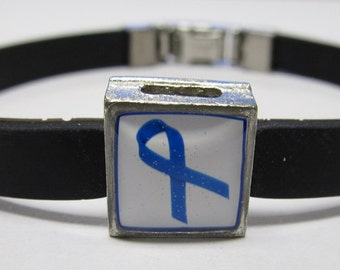 Colon Cancer Awareness Blue Ribbon Link With Choice Of Colored Band Charm Bracelet