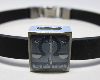 The Scales Libra Zodiac Sign Link With Choice Of Colored Band Charm Bracelet