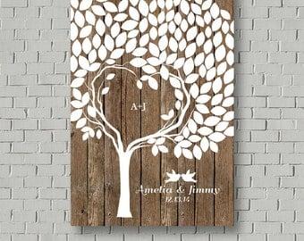 Rustic Wedding Guest Book Alternative, Wedding Signs Wood Wedding Gift Ideas, Wedding Tree Guest Book Tree Wedding Canvas, Guestbook Ideas