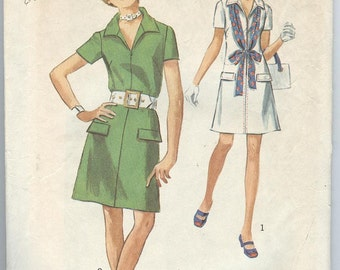 1970s Dress Pattern Simplicity 8874 Front Zipper Collar Flaps Womens Vintage Sewing Patterns Size 14