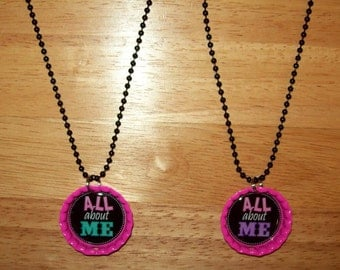 "Hot Pink Bottle Cap Necklace with All About Me Image, 24"" Black Ball Chain"