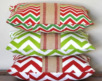 Decorative Pillow Cover in Holiday Red Green and Natural Red and White Green and White Burlap Accent 12x16 Pillow Cover